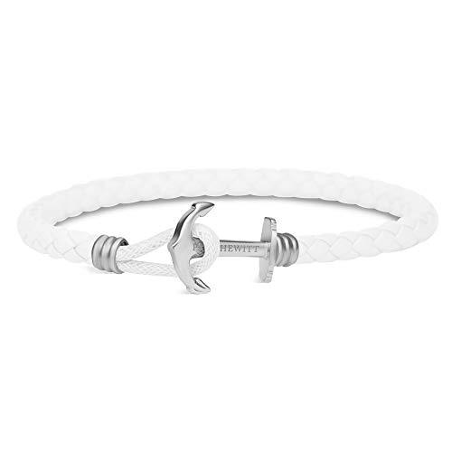 PAUL HEWITT Anker Armband Damen PHREP Lite - Leder Armband Frauen (Weiß), Armband Damen mit Anker Schmuck aus Edelstahl (Silber)