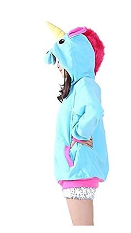Katara 1791 - Einhorn-Pulli, Süßes Sweat-Shirt Kapuze, witzige Jacke mit Nase, Ohren, Horn, Hoody mit Reißverschluss, Frauen Kapuzen-Pullover, Mädchen Hoodie warm flauschig - Körpergröße 165-175cm (L) Blau