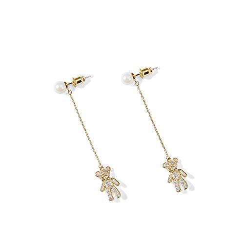 Lan chen simpatico orso lungo orecchini temperamento femminile selvaggio super fata orecchini cuore ragazza animale orecchio gioielli super flash (colore : oro)