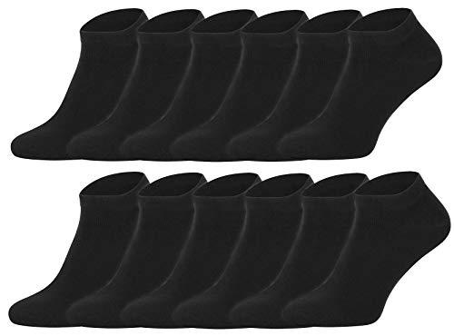 BestSale247 12 Paar Herren Sport Freizeit Sneaker Socken Füßlinge Baumwolle 39-42 ; 43-46 (Black, 39-42)