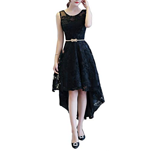 ZLDDE Damen High-Low Lace ärmellose Vintage Party Brautjungfer Formale Cocktailkleider Grecian Jersey