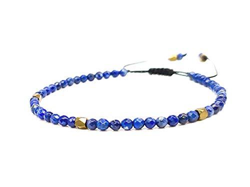 Mister Boncuk`s Hochwertige Filigrane Handmade Makramee Armband für Damen aus Natursteinen - Perlenarmband - verstellbar - Perfekt geeignet als Geschenk (Lapislazuli (Blau))