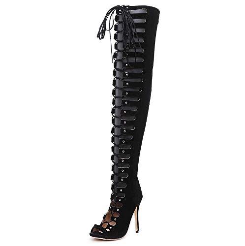 Mamrar Thigh High Boot 12cm Stiletto Cool Boot Frauen Sexy Peep Toe Cross Straps Knight Boot Party Dress Boot Eu Size 35-40,Black,39EU