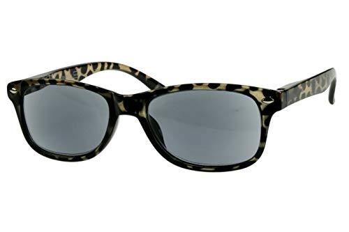 Lesebrillen getönt als Sonnenbrille Damen Herren grau schwarz gepunktet mit Sonnenschutz leicht eckig modern schmal Kunststoff Federbügel 1.0 1.5 2.0 2.5 3.0, Dioptrien:Dioptrien 2.0