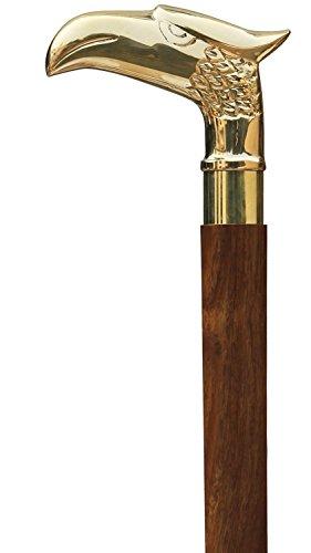 Gehstock mit Messinggriff aus Metall, Adlerkopf, aus Holz, für Damen und ()
