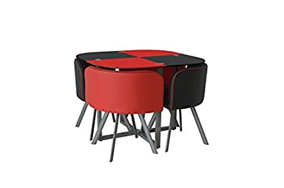 Glass Dining Table And 4 Faux Leather Chairs,space Saver, Black And Red