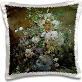 BLN Flower Paintings Fine Art Collection - Spring Bouquet by Pierre-Auguste Renoir Flower Still Life - 16x16 inch Pillow