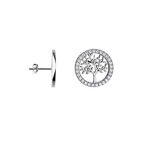 Damen Ohrringe Silber 925 Lebensbaum Ohrstecker mit Zirkonia Ohrringe für Frauen Mädchen