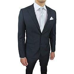 Abito Completo Uomo Sartoriale Grigio Scuro Slim Fit Vestito Elegante Cerimonia con Pochette da Taschino (52)