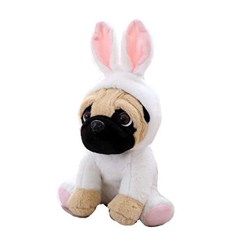 FONGFONG Weich Plüschtier Mops Hund mit Kostüm Kuscheltier -