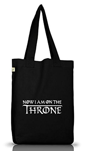 JGA 62 - NOW I AM ON THE THRONE, Junggesellenabschied Jutebeutel Stoff Tasche Black