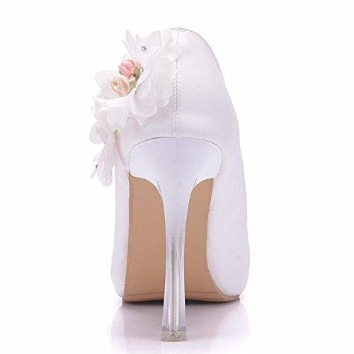 Nozze nuziale Tribunale Scarpe Donne piattaforma bianca Fiori Vestito appuntito alto Tacco Sera Primavera Le signore pompe Dimensione 35-41 Bianca