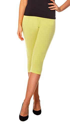 BeComfy Damen Leggings 3/4 Capri aus Baumwolle Viele Größen&Farben Blickdichte Leggins Rot Schwarz Graphit Grau Weiß Blau Rosa Beige (56-8XL, Zitronen)