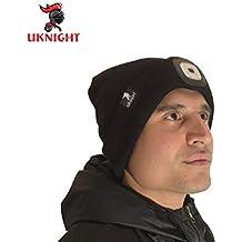 Uknight Berretto Nero di Alta qualità con Una Potente Luce LED Rimovibile e  Ricaricabile Tramite USB 374428e097ff