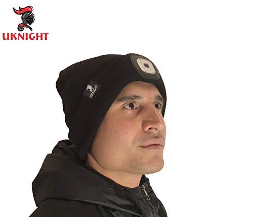 Uknight - Gorro Lana luz LED extraíble Recargable