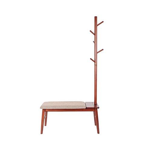 Appendiabiti, combinazione domestica moderno minimalista attaccapanni portaoggetti cremagliera cambia panchina in legno massello (colore : brown)