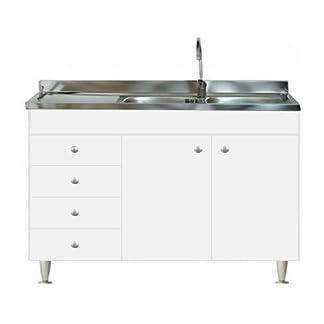 Arredobagnoecucine – Mueble de cocina con 2puertas y fregadero inoxidable 120 – Bajo mesada modular