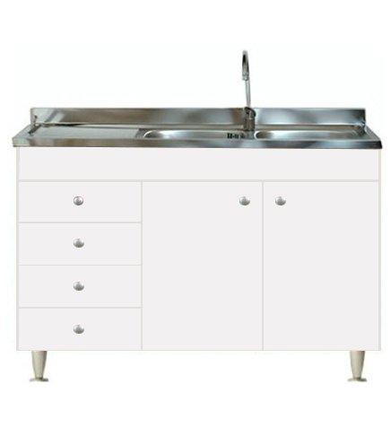 Mobile cucina 2 ante completo di lavello inox 120 componibile sottolavello
