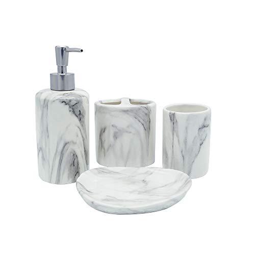 COOSA Keramik-Badezimmerzubehör-Set, 5-teilig, Badeset Kollektion Marmor-Muster, Seifenspender, Pumpe, Zahnbürstenhalter, Becher, Baumwolltank, Seifenschale Marble Design (Zahnbürstenhalter Gebürstetem Nickel Aus)