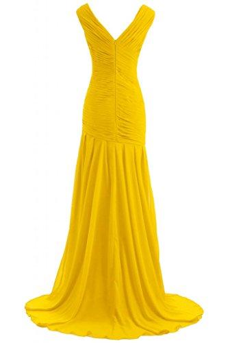 Victory Bridal Modisch V-Ausschnitt mit Perlen und Steinen Abendkleider Lang Chiffon Promkleider Partykleider Brautjungfernkleider Gold