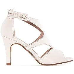 Andres Machado - Zapatos de tacón Mujer, Color Beige, Talla 44 EU