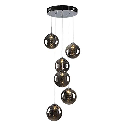Lampada a sospensione LED moderna Lampadario in cristallo Lampada a sfera in vetro romantica a soffitto plafoniere per isola cucina Corridoi casa G14 Lampadine 6 luci, Grigio scuro