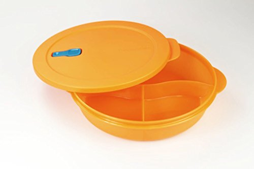 TUPPERWARE Mikrowelle CrystalWave 1,9 L mit Abtrennung orange Micro Wave Pop 15964