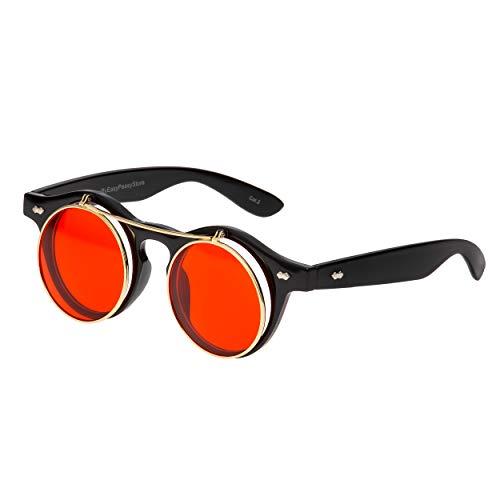 Ultra Redondo Flip Up Gafas Da Sol Steampunk Hombre Mujer UV400 Retro Goggles