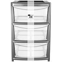 EHC E7-3DLARGESI - Cajoneras de 3 compartimientos, plástico, 63 x 41,2 x 31,2 cm, transparente, color gris