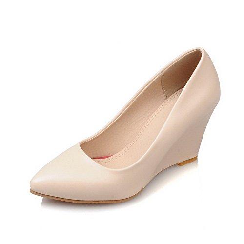 AllhqFashion Damen Spitz Zehe Hoher Absatz Rein Ziehen Auf Pumps Schuhe Aprikosen Farbe