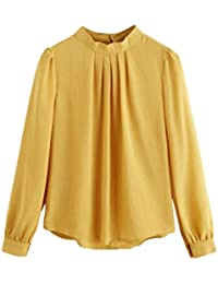 Mode Tops Sommer Chiffon Bluse Plissee Rundhals Langarm Casual Frauen Lose  Shirt Business Office… EUR 15,25 · Lilicat Sweatshirt Damen Langarmshirt ... 9f347ceb98