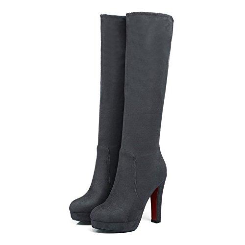 AgooLar Damen Hoher Absatz Mattglasbirne Mitte-Spitze Blockabsatz Reißverschluss Stiefel Grau