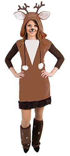 narrenkiste Oh3034-40-42 braun-weiß Damen REH Kostüm-Kleid mit Stulpen Gr.40-42
