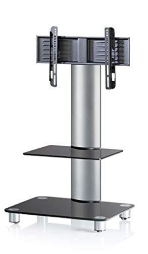 """VCM 17090 TV-Standfuß LED Ständer Fernseh Standfuss Alu Glas Universal Silber VESA Mobil Rollen """"Bilano Zwischenboden"""""""
