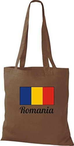 T-shirt In Tessuto Borsa In Cotone Country Juta Romania Romania Colore Blu Scuro Marrone Medio