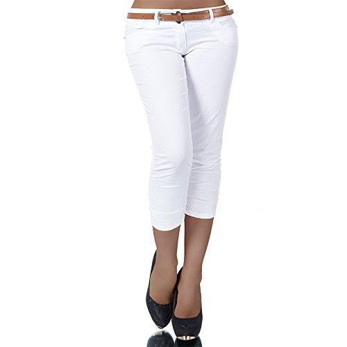 H968 Damen Chino Hose Stoffhose Capri Bermuda Sommerhose Boyfriend Shorts Gürtel, Farben:Weiß;Größen:40 (L)