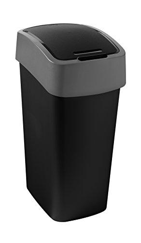 CURVER | Poubelle Flip Bin 50L, Noir / Argent, Inside Refuse, 29,4x37,6x65,3 cm