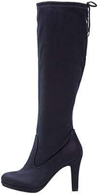Anna Field Boots High Heel Botas Mujer Negro, Azul Oscuro o Pardo–langschaft Botas para mujer con tacón–Ensanchar tiefel elegante, vástago elástico con cordón