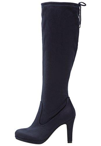 Anna Field Boots High Heel Stiefel Damen in Blau - Langschaft Damenstiefel mit Absatz, 36