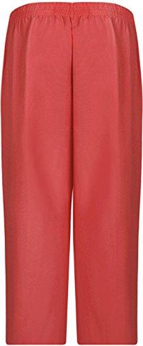 WearAll - Pantacourt simple avec taille élastique et les poches - Pantalons - Femmes - Grandes tailles 40 à 52 Corail