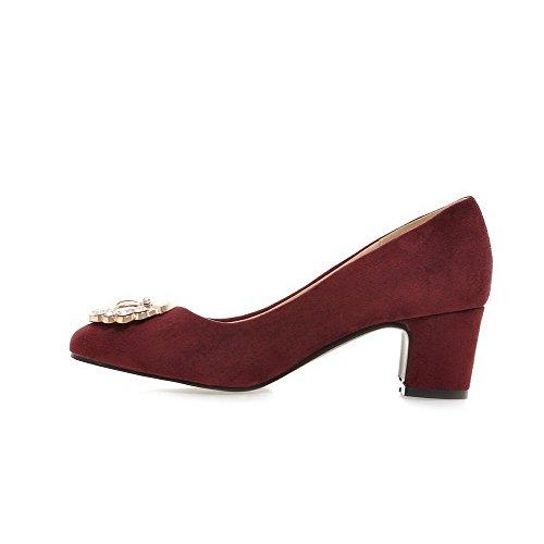 VogueZone009 Femme Suédé Mosaïque Tire Carré à Talon Correct Chaussures Légeres Rouge