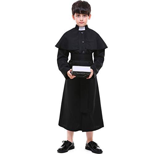 Jeff-chy Halloween Bambini Pastor Abbigliamento Coro Costume Bambini Chiesa Pastore Giochi di Ruolo Cosplay Costume da Prete,Nero,L