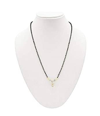 NMJ Gold Plated American Diamond Mangalsutra with Chain for Women