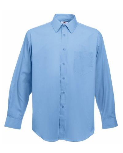 Fruit of the loom long sleeve poplin shirt, camicia uomo, blu (mid blue), medium