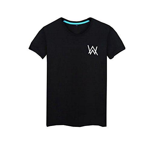 Tiny Time Unisex Freizeit Kurze Hülse Mode Reine Baumwolle T-Shirt (S, Schwarz) (- S/s Baumwolle T-shirts Reine)