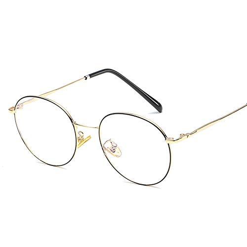 Literarische runde Rahmen Temperament Student Männer Frauen Brillengestell Retro Plain Gläser Brille (Color : 03Gold, Size : Kostenlos)