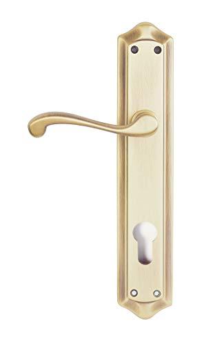 Manivela izquierda de latón fabricado en España. Color latón antiguo satinado. Barnizado mate. Medida placa: 275x52 mm.