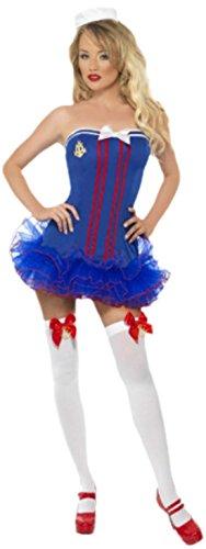 Karnevalsbud - Damen Seemannsfrau Tutu mit Hut Kostüm, M, Mehrfarbig