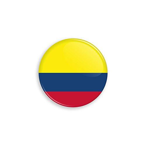 Button mit Kolumbien Flagge als Anstecker mit Nadel oder Magnet als Auswahl, 38 mm Durchmesser - Für Fußball WM, Themen Partys und Feiern oder als Geschenk - Magnet