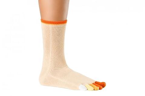 Knitido Rainbow Moods - 1/4 Hose Toe Socks, Cotton, Couleurs Rainbow 8302:Pumpkin Pie (137);Size:UK